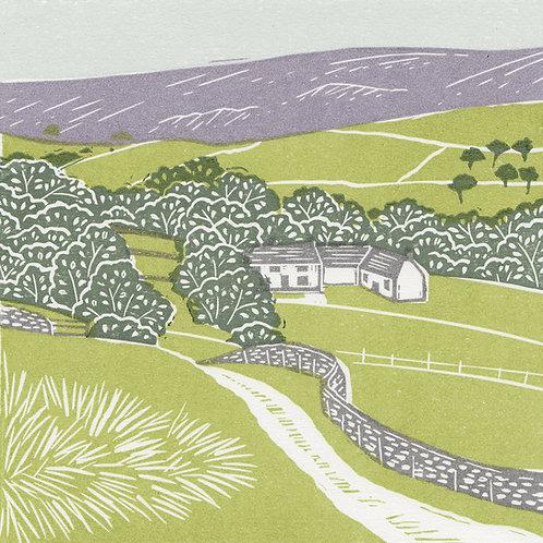 Farndale, North York Moors, original linocut print