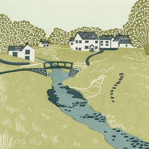 Hutton le Hole, North York Moors original linocut print