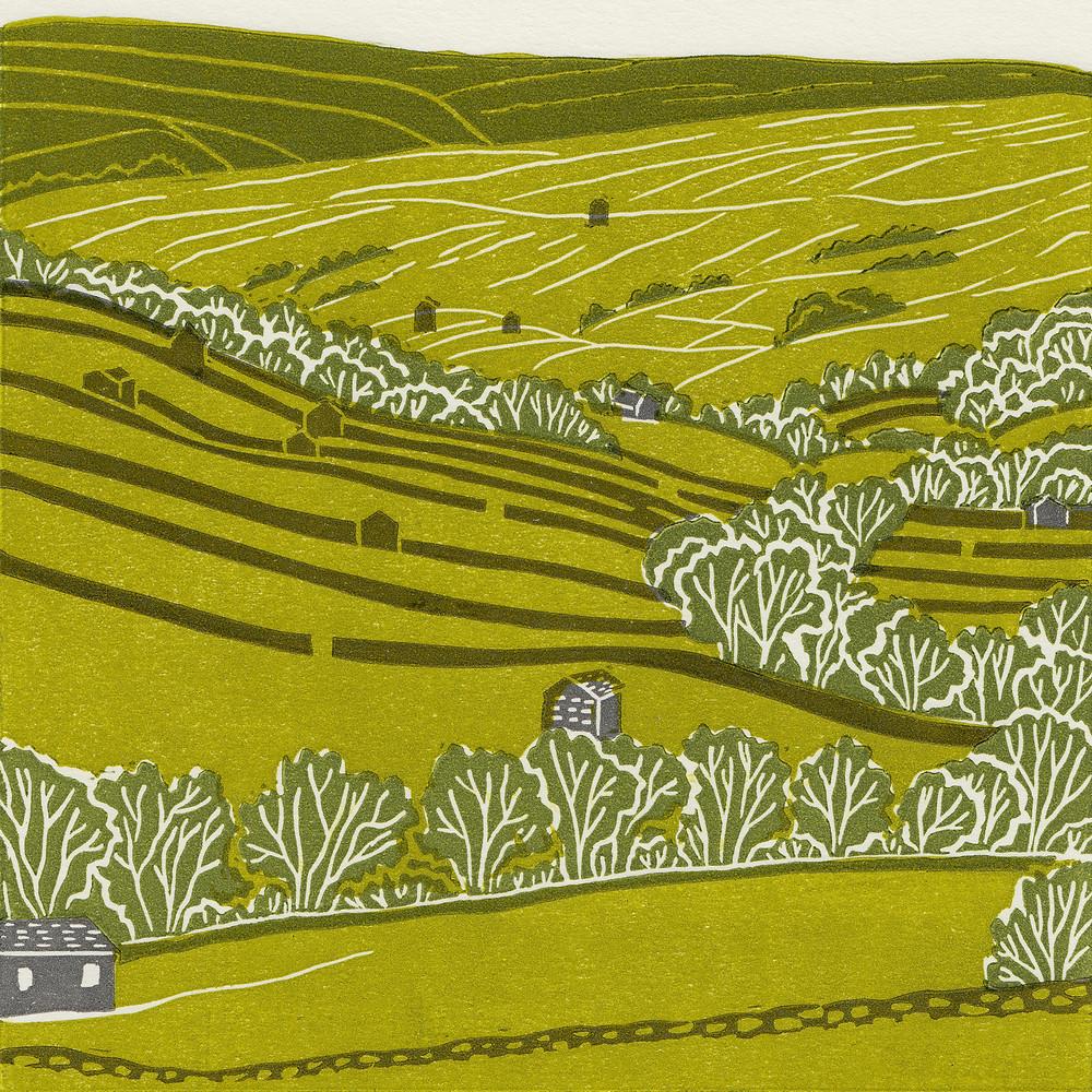 Swaledale linocut print, Yorkshire Dales