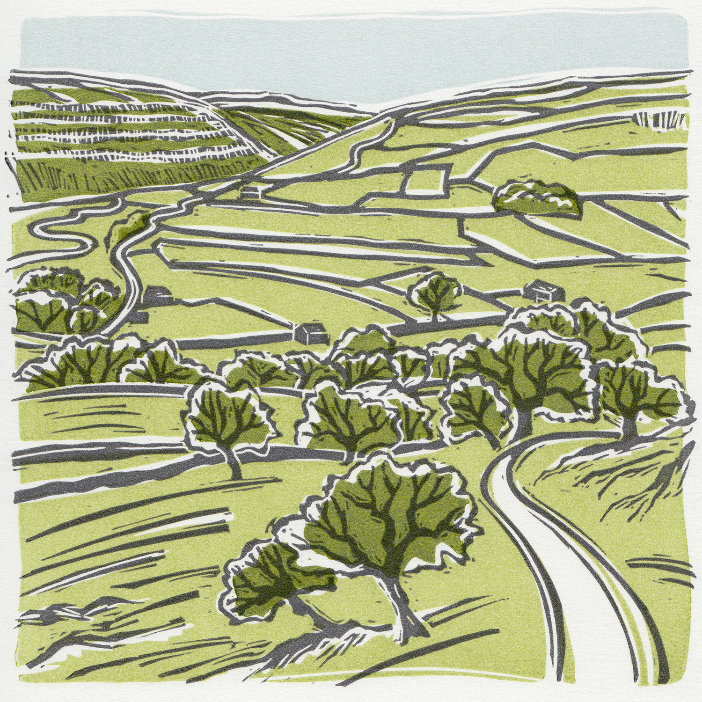 Littondale, linocut print