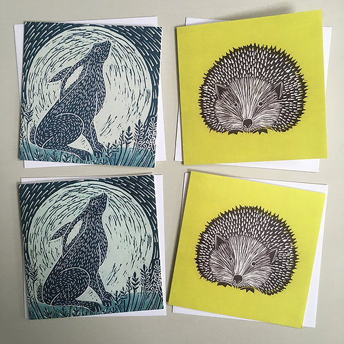 Pack of 4 greetings cards - Hare and hedgehog