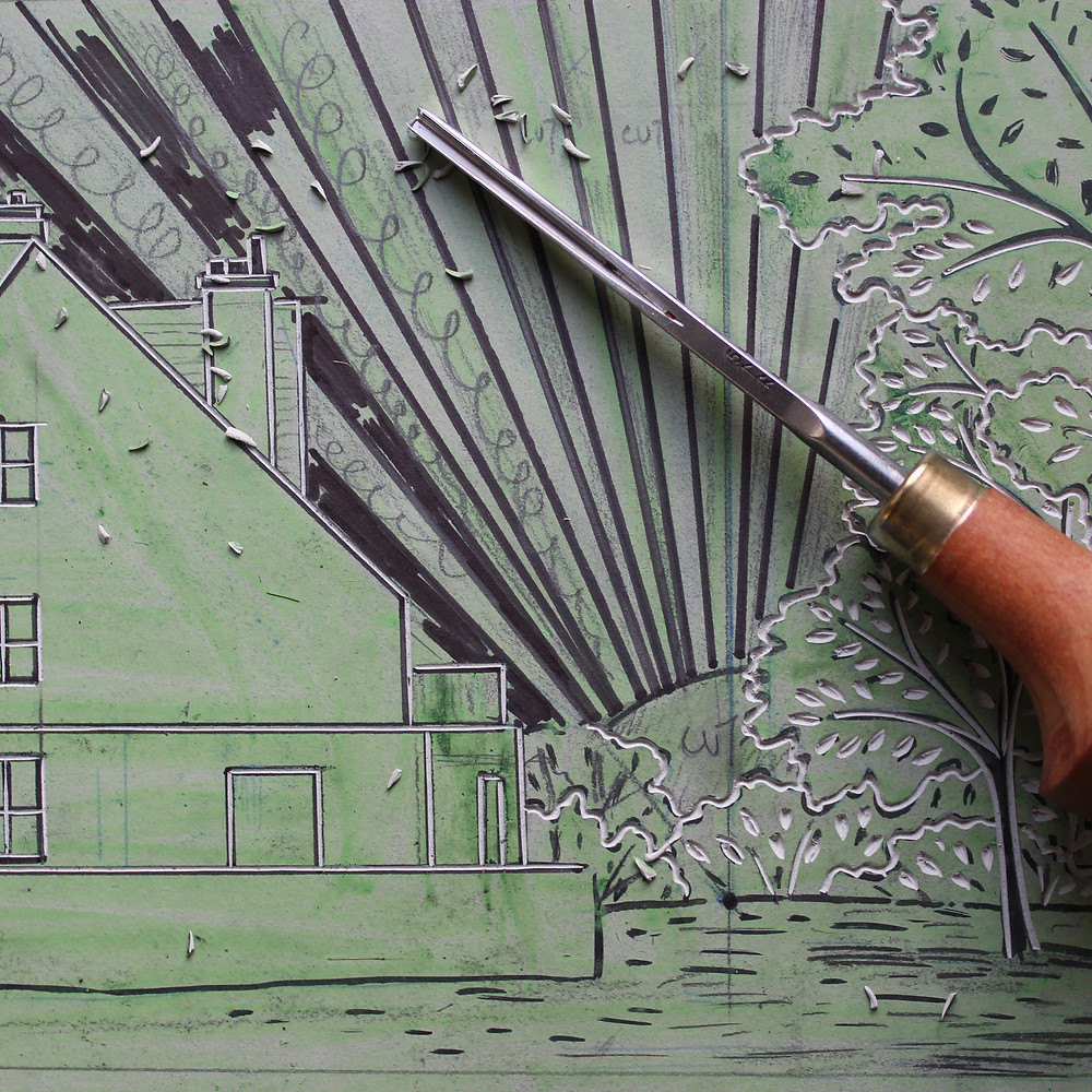 Carving the Sutton Hoo Tranmer House linocut illustration