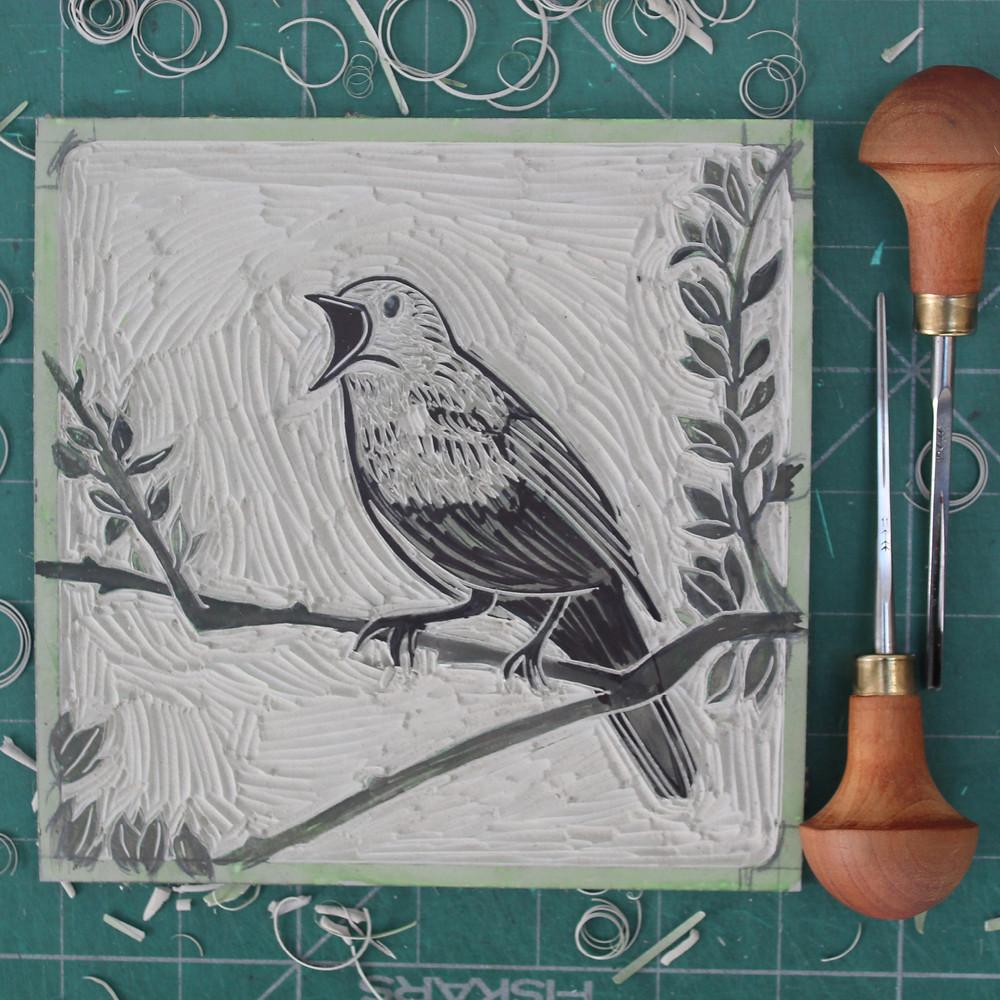 Finished linocut block for the Sutton Hoo nightingale bird illustration.