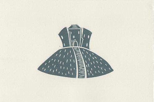 Clifford's Tower, York, original linocut print - Steel blue