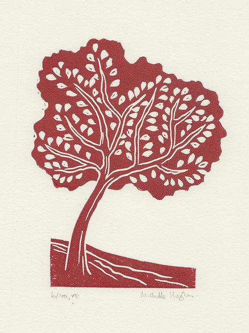 Tree, original linocut print - Autumn red