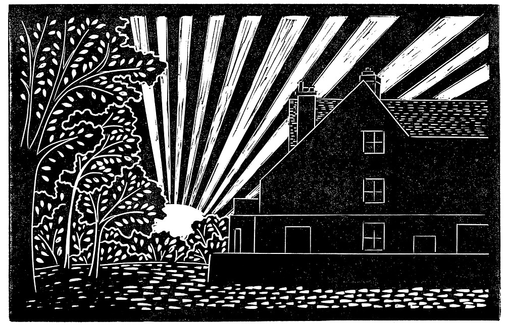 Scanned linocut print for the Sutton Hoo Tranmer House linocut illustration