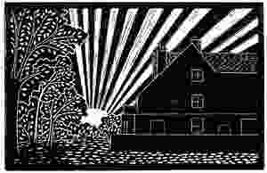 Scanned linocut print for the Sutton Hoo Tranmer House linocut illustration