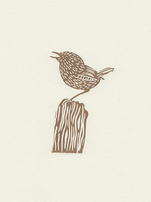 Wren, original linocut print - Gold