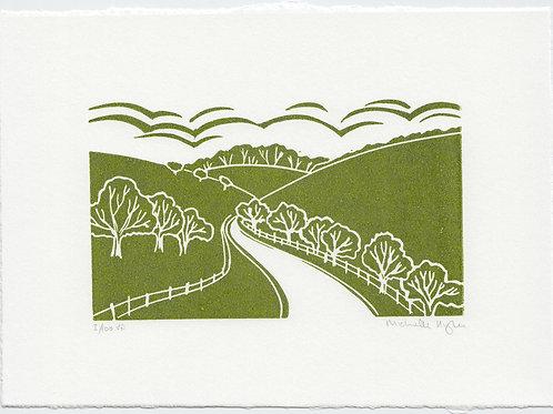 Yorkshire Wolds linocut print mini series - A