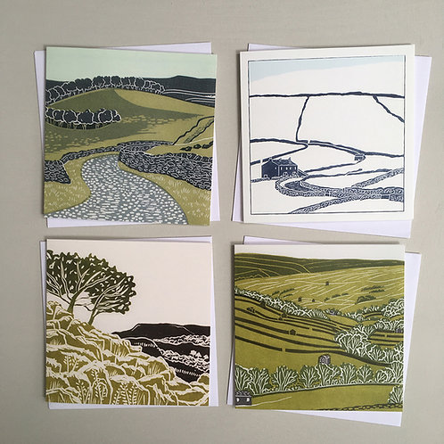 Pack of 4 greetings cards - Yorkshire Dales