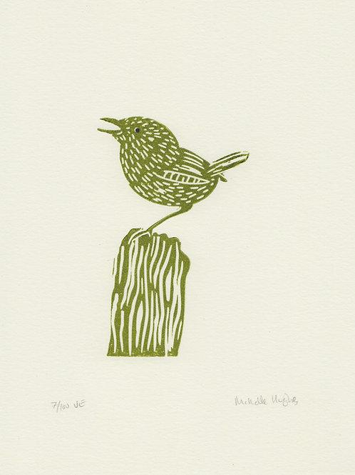 Wren, original linocut print - Green