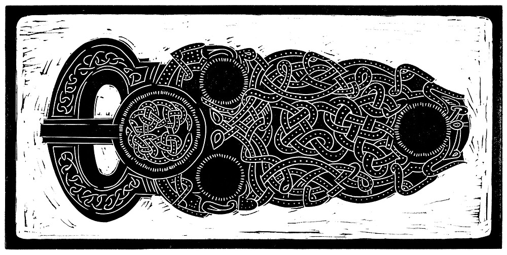 Scanned image of the Sutton Hoo Anglo-Saxon gold belt buckle linocut illustration.