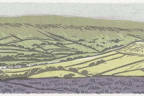 Blakey Ridge towards Farndale, North York Moors, original linocut print
