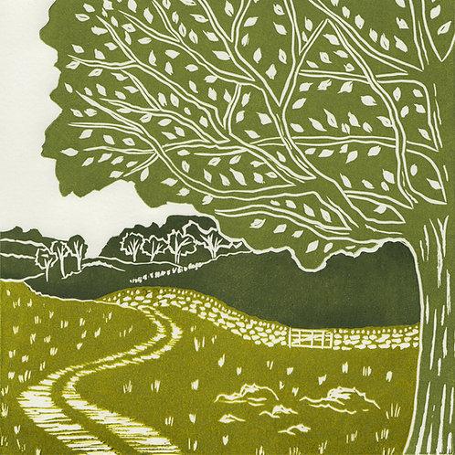 Yorkshire Dales III, original linocut print