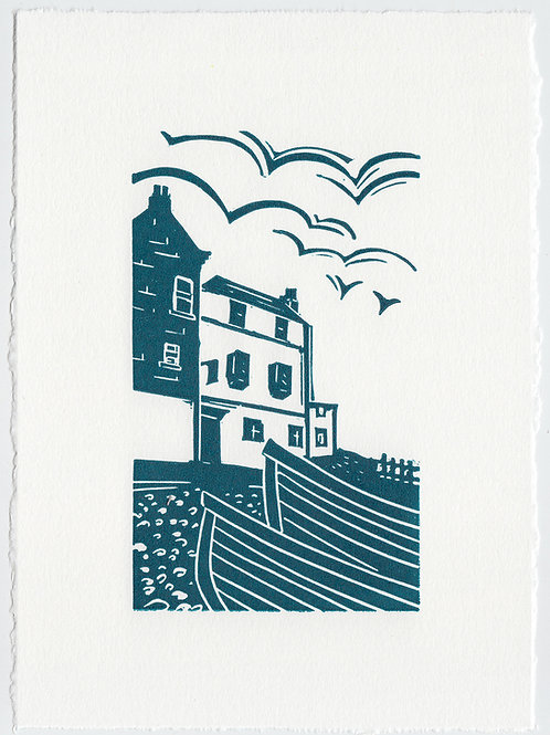 Yorkshire Coast linocut print, Baytown - blue