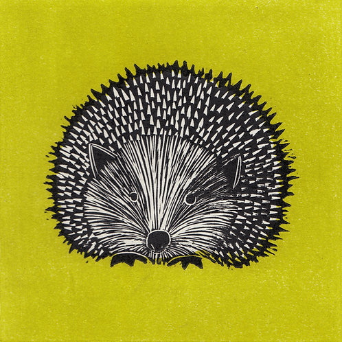 Hedgehog, green, original linocut print