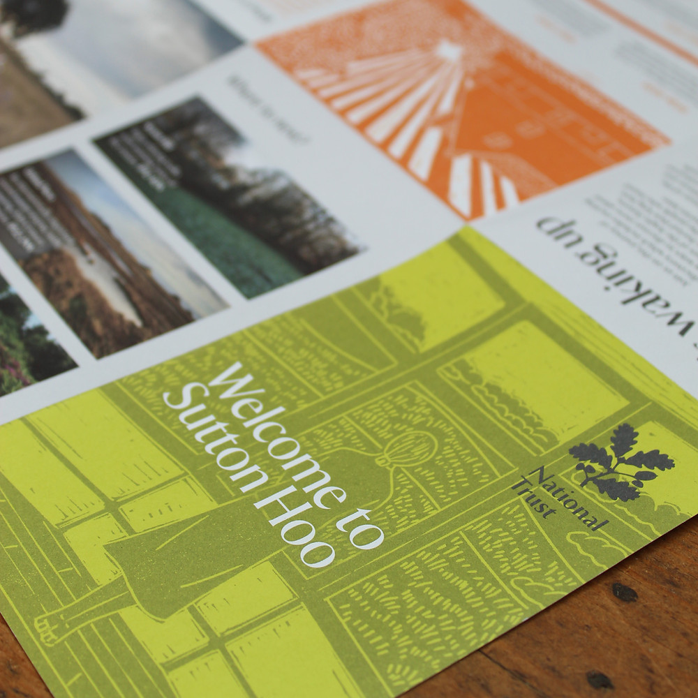 'Welcome to Sutton Hoo' leaflet showing linocut illustrations for National Trust's place, Sutton Hoo