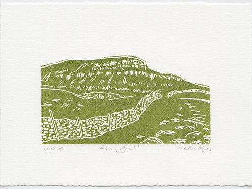 Pen-y-ghent, Yorkshire three peaks linocut print