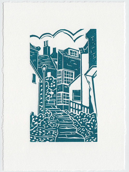 Yorkshire Coast linocut print, cobbled streets - blue