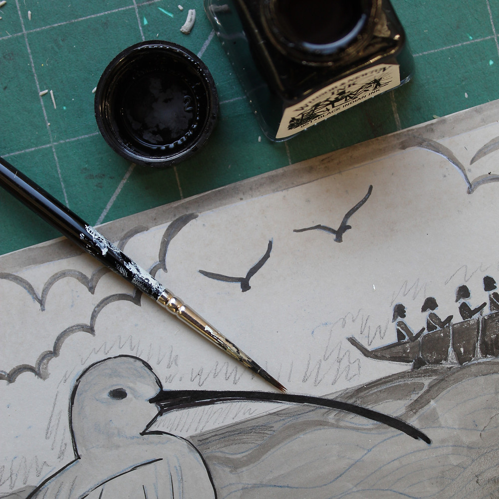 Planning the design for the Sutton Hoo curlew and Anglo-Saxon boat linocut illustration