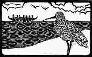 Scanned linocut for the Sutton Hoo curlew and Anglo-Saxon boat linocut illustration