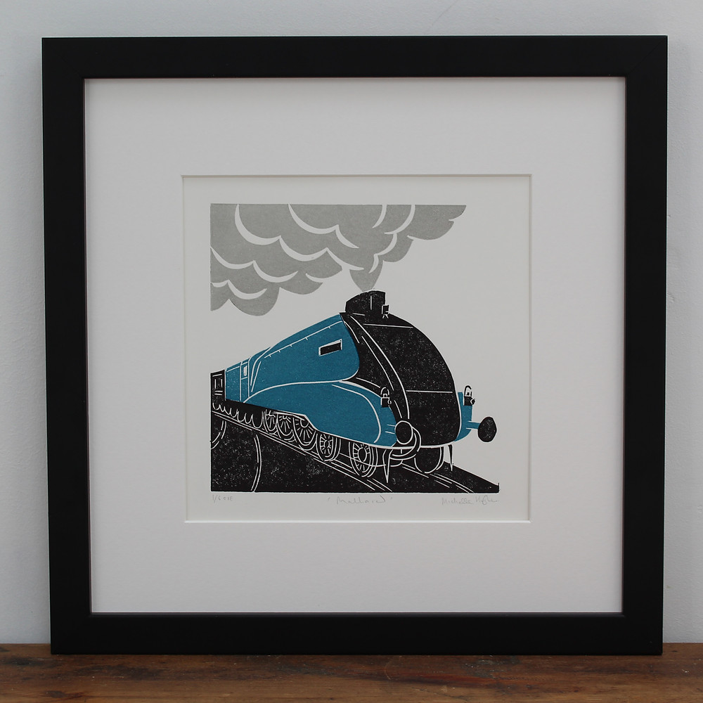 Mallard steam train linocut framed