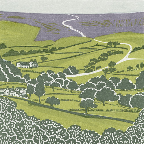 Farndale, towards Blakey Ridge,  North York Moors, original linocut print