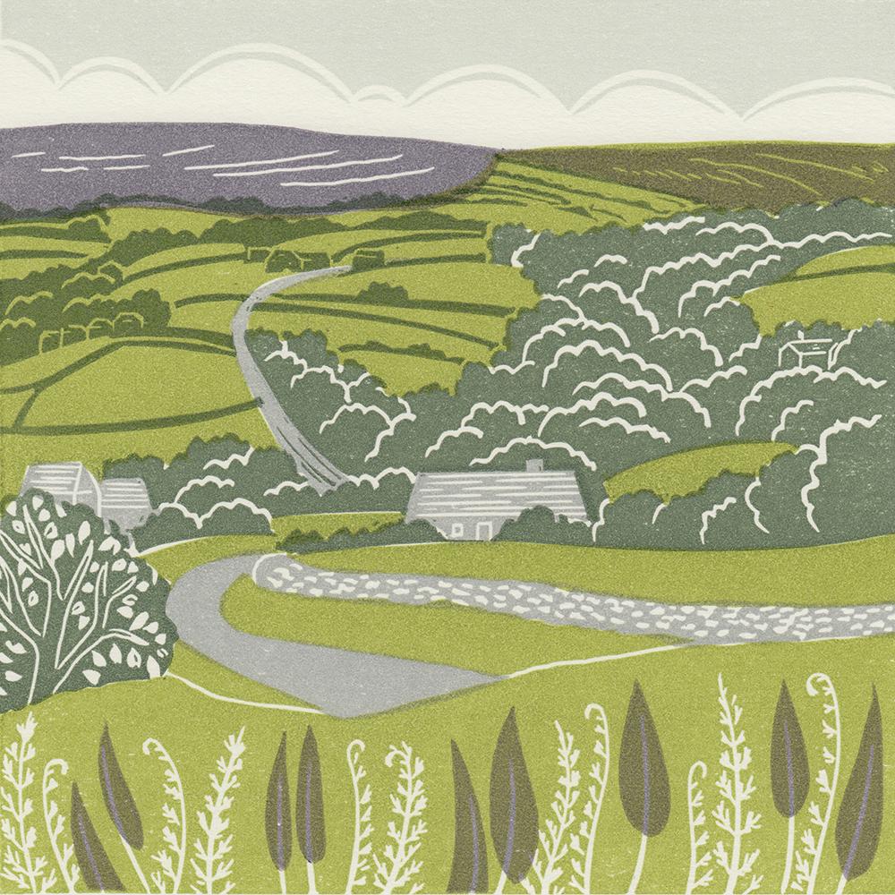 Lealholm, Esk Valley, linocut print