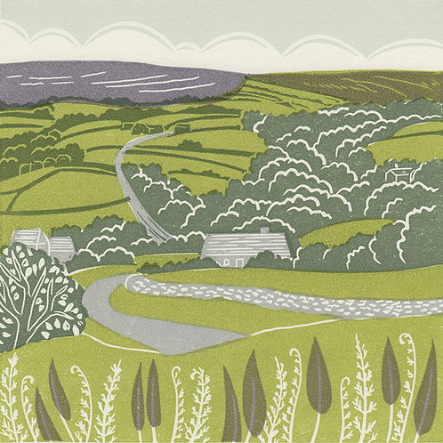 Lealholm, Esk Valley, North York Moors, original linocut print