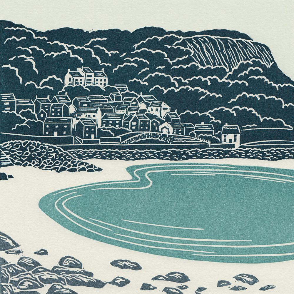 Runswick Bay linocut print