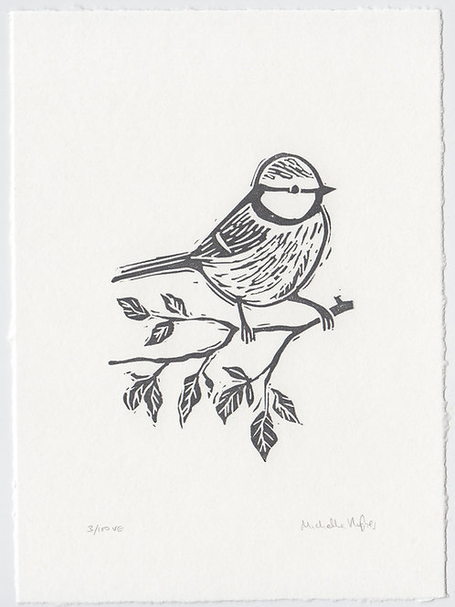 Blue Tit, original linocut print - Charcoal grey