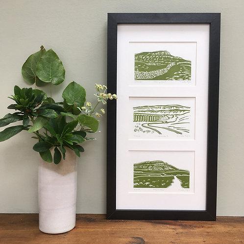 Yorkshire Three Peaks, set of 3 linocut prints B: Pen-y-ghent, Ingleboro