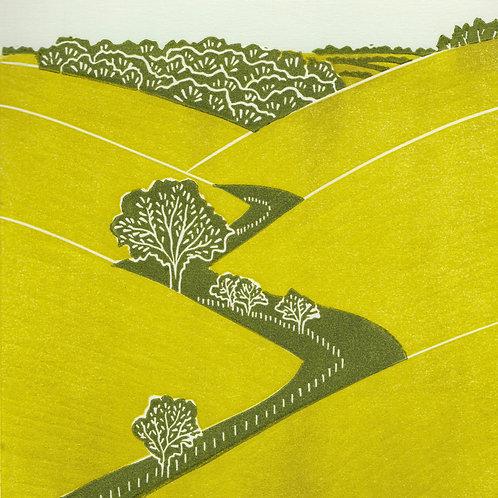 Fridaythorpe, Yorkshire Wolds original linocut print