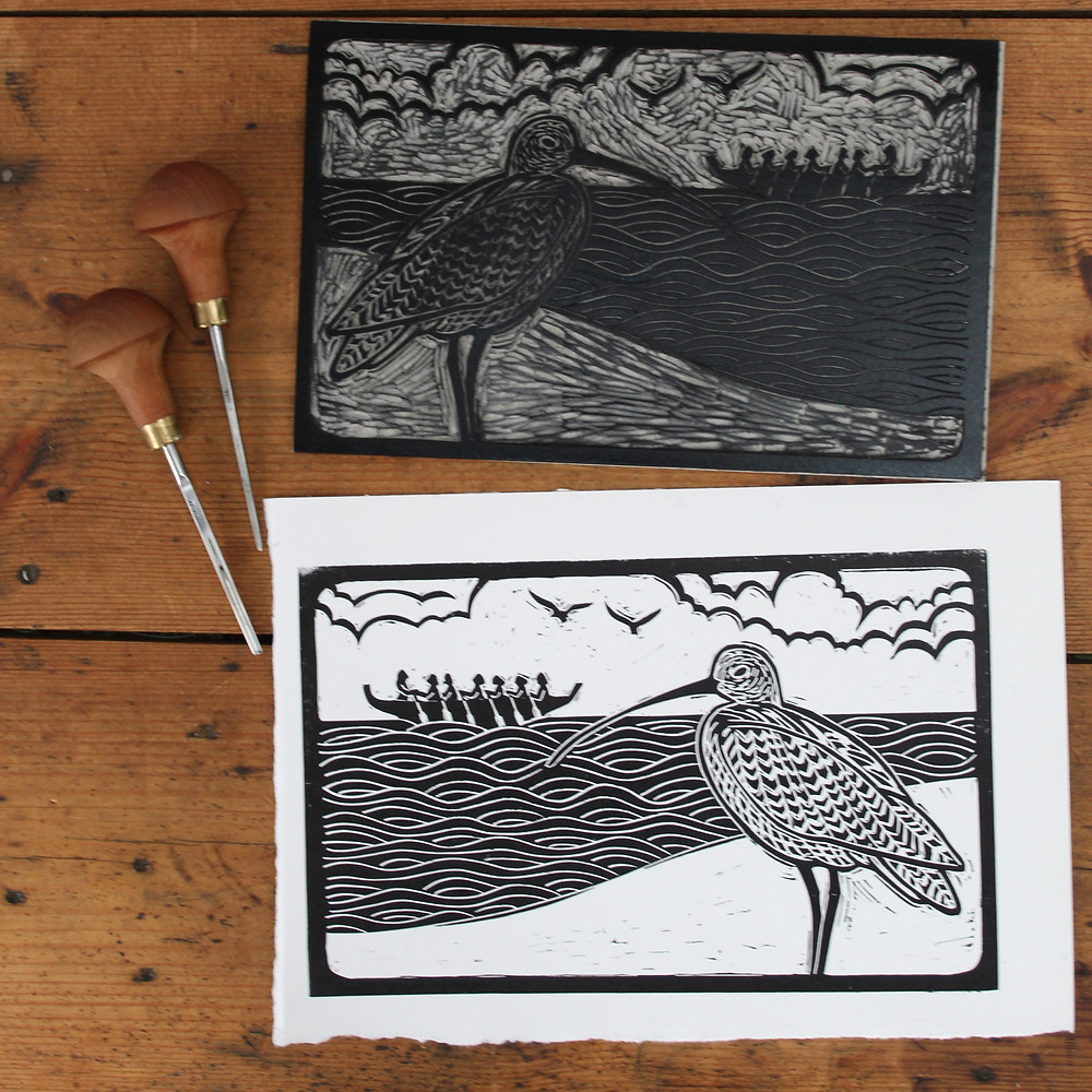 Printed design and linocut block for the Sutton Hoo curlew and Anglo-Saxon boat linocut illustration