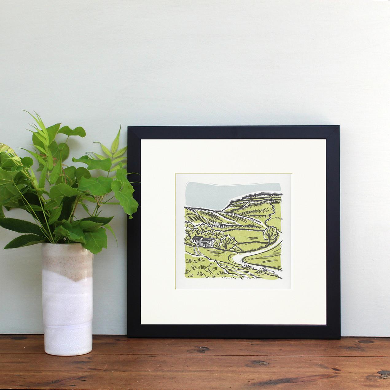'Ingleborough' Yorkshire Dales. Hand printed linocut print. Sage green.