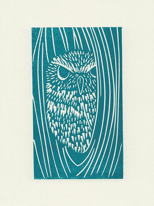 Little Owl, original linocut print - blue