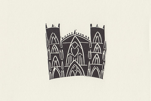 York Minster linocut print - Black