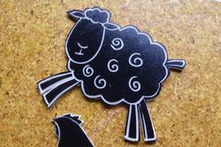 Beetle Bank Open Farm sheep linocut