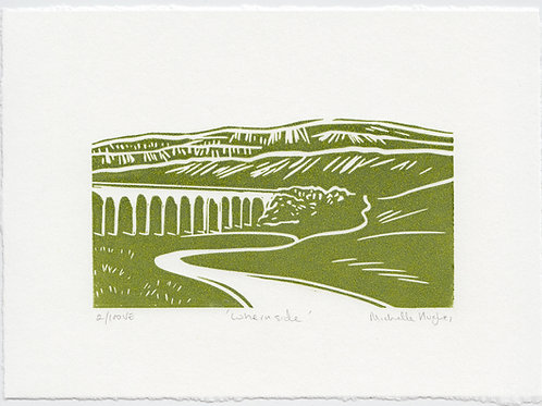 Whernside, Yorkshire three peaks linocut print