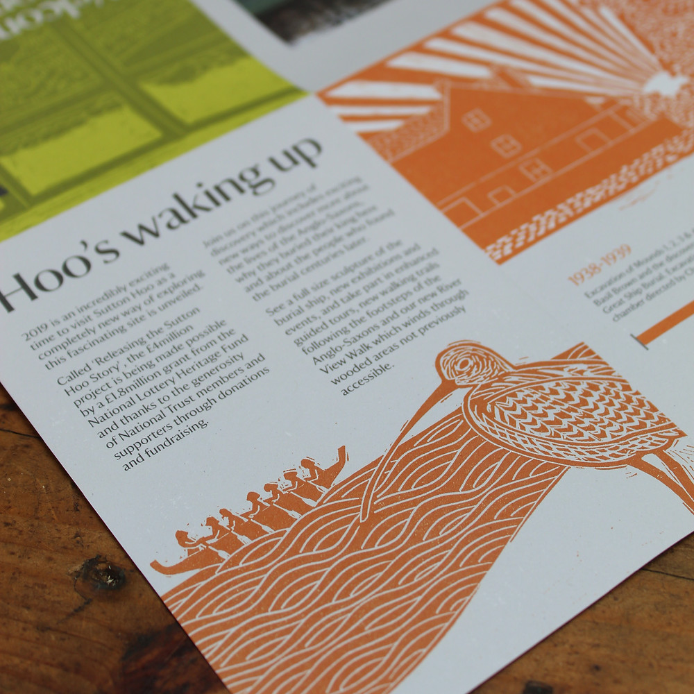 Close up detail of curlew and Anglo-Saxon boat linocut illustration on 'Welcome to Sutton Hoo' leaflet