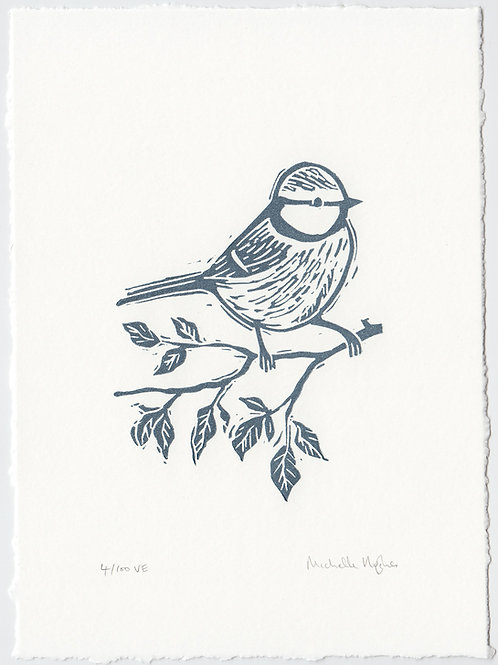 Blue Tit, original linocut print - Steel blue