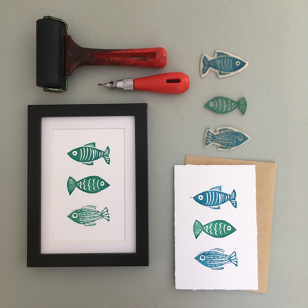 Printed mark making fish design, lino blocks and tools