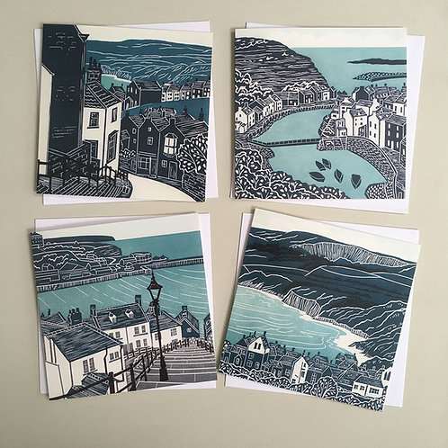 Pack of 4 greetings cards - Yorkshire Coast 2