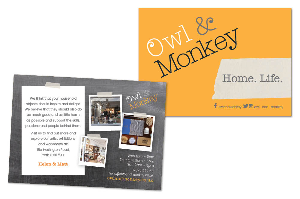 Owl and Monkey postcard