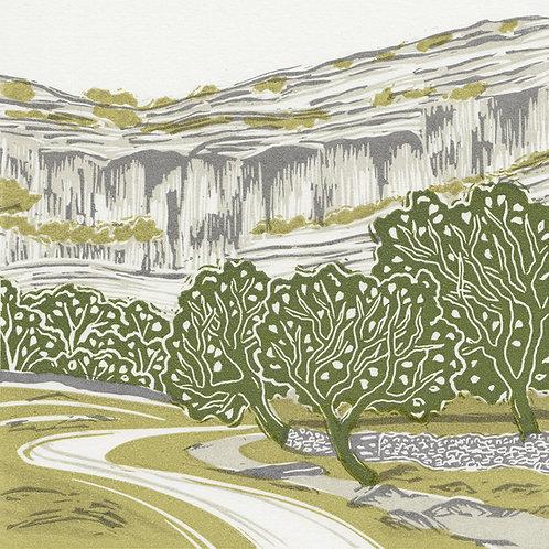 Malham Cove, Yorkshire Dales original linocut print
