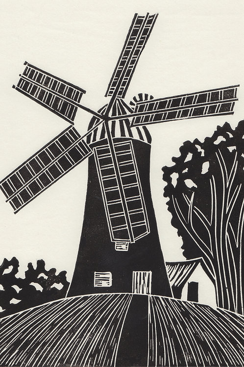 Holgate Windmill, York original linocut print