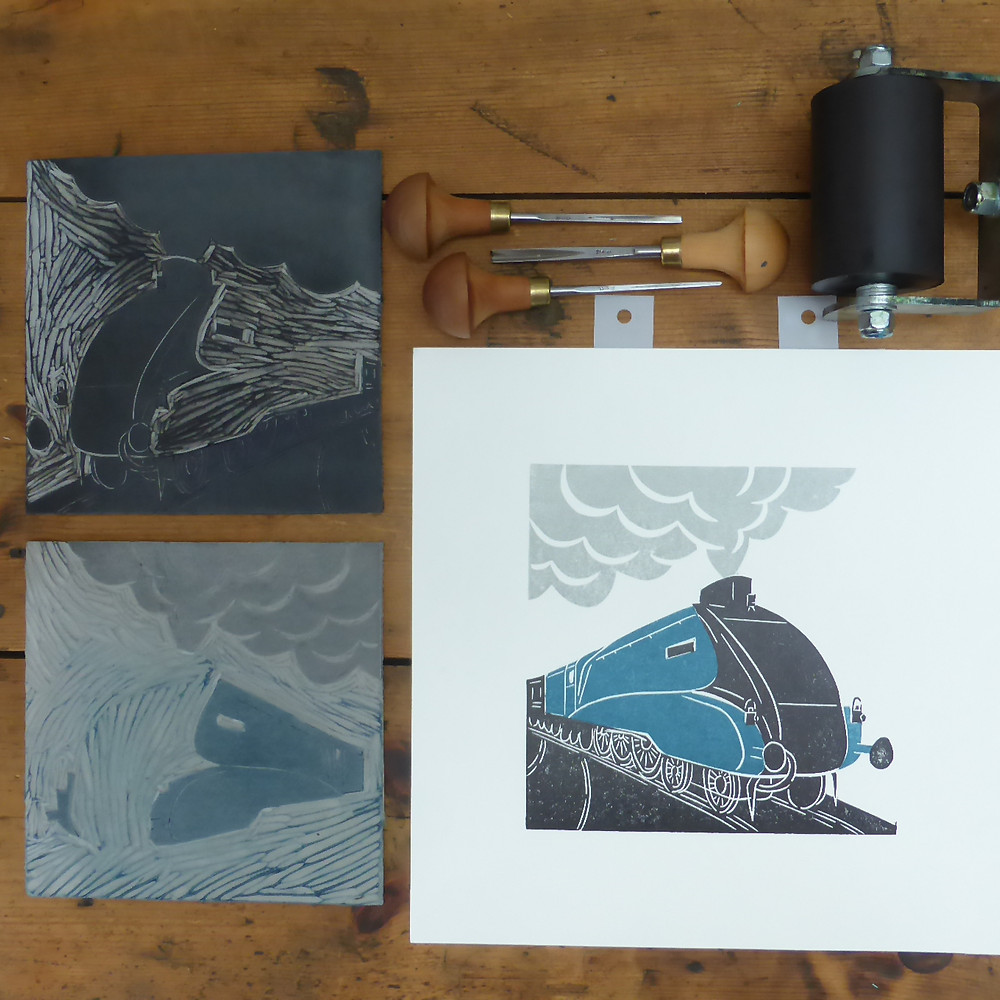 Lino blocks and finished linocut print