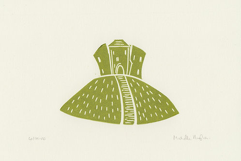 Clifford's Tower, York, original linocut print - Green