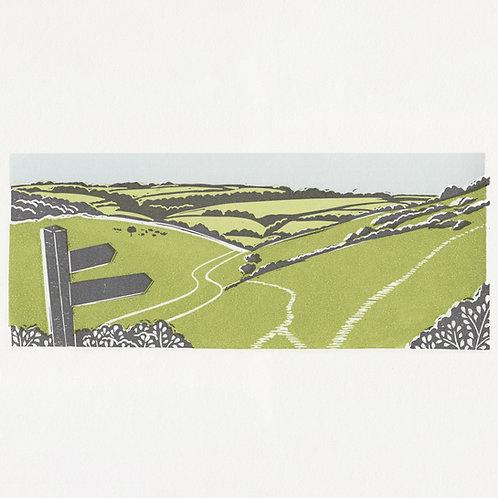 Millington, Yorkshire Wolds, original linocut print