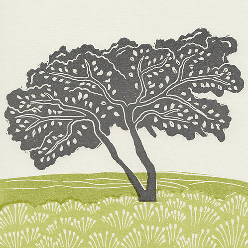 'Lone Tree, Esk Valley', North York Moors, original linocut print - green